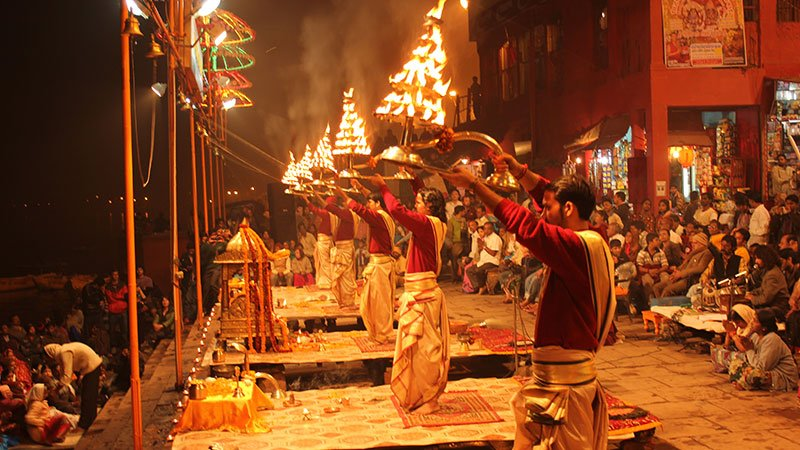 Aarti ceremony on the ghats at Varanasi, India