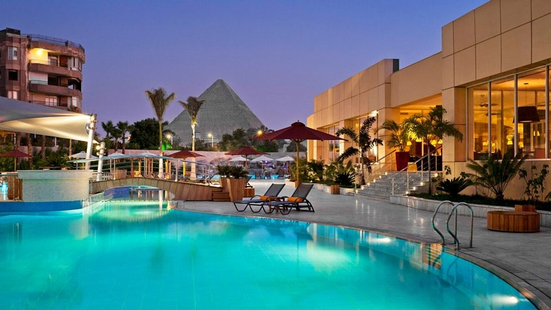 Pool area with view of Pyramids