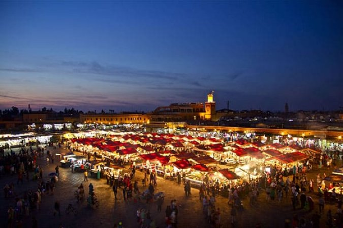 Djemaa El Fna Square by night, Marrakech, Morocco