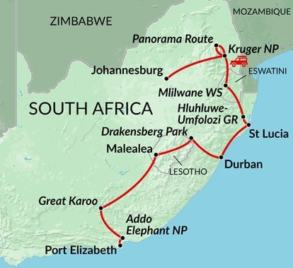 Lesotho South Africa Map.Lesotho Eswatini Kruger 14 Day South Africa Tour And Travel Package