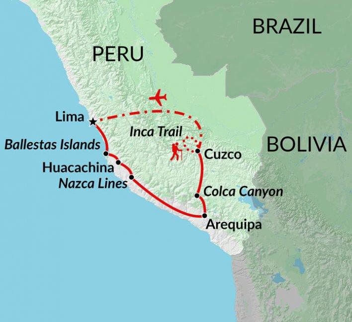 Huacachina Peru Map.Machu Picchu Trek Inca Trail Trek Nazca Lines Tour Encounters