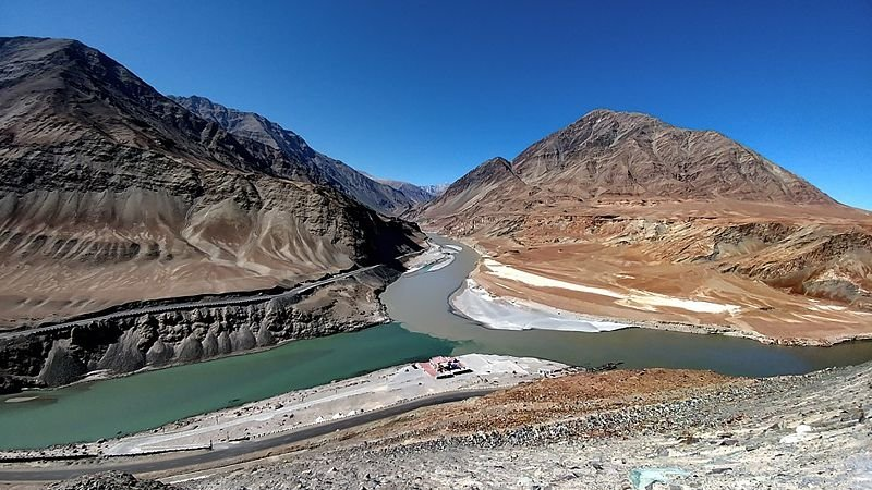 The Sagam of the Zanskar and Indus rivers, India