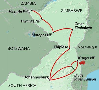 Map Of South Africa And Zimbabwe.Zimbabwe Kruger Explorer Encounters Travel